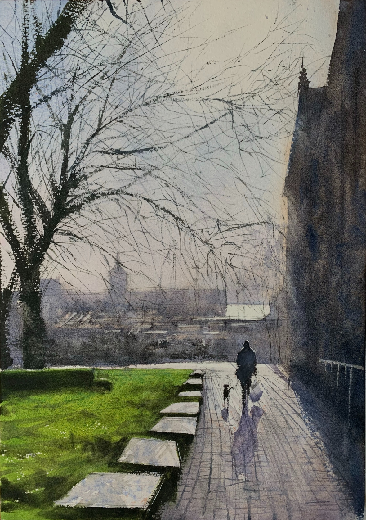 Winter light. St Nicholas Church, Brighton, watercolour painting by artist John Haywood