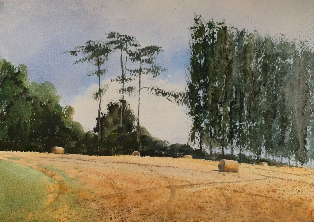 Watercolour painting of a Sussex field with hay bales and trees in the background by artist John Haywood