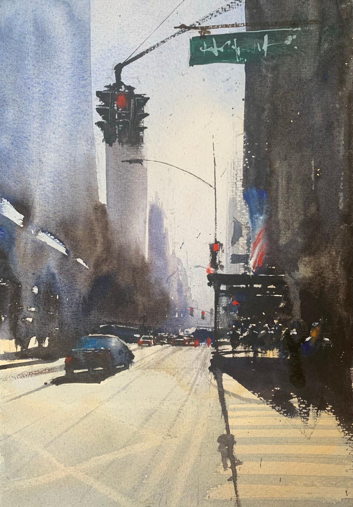 Watercolour painting of a New York street scene by artist John Haywood